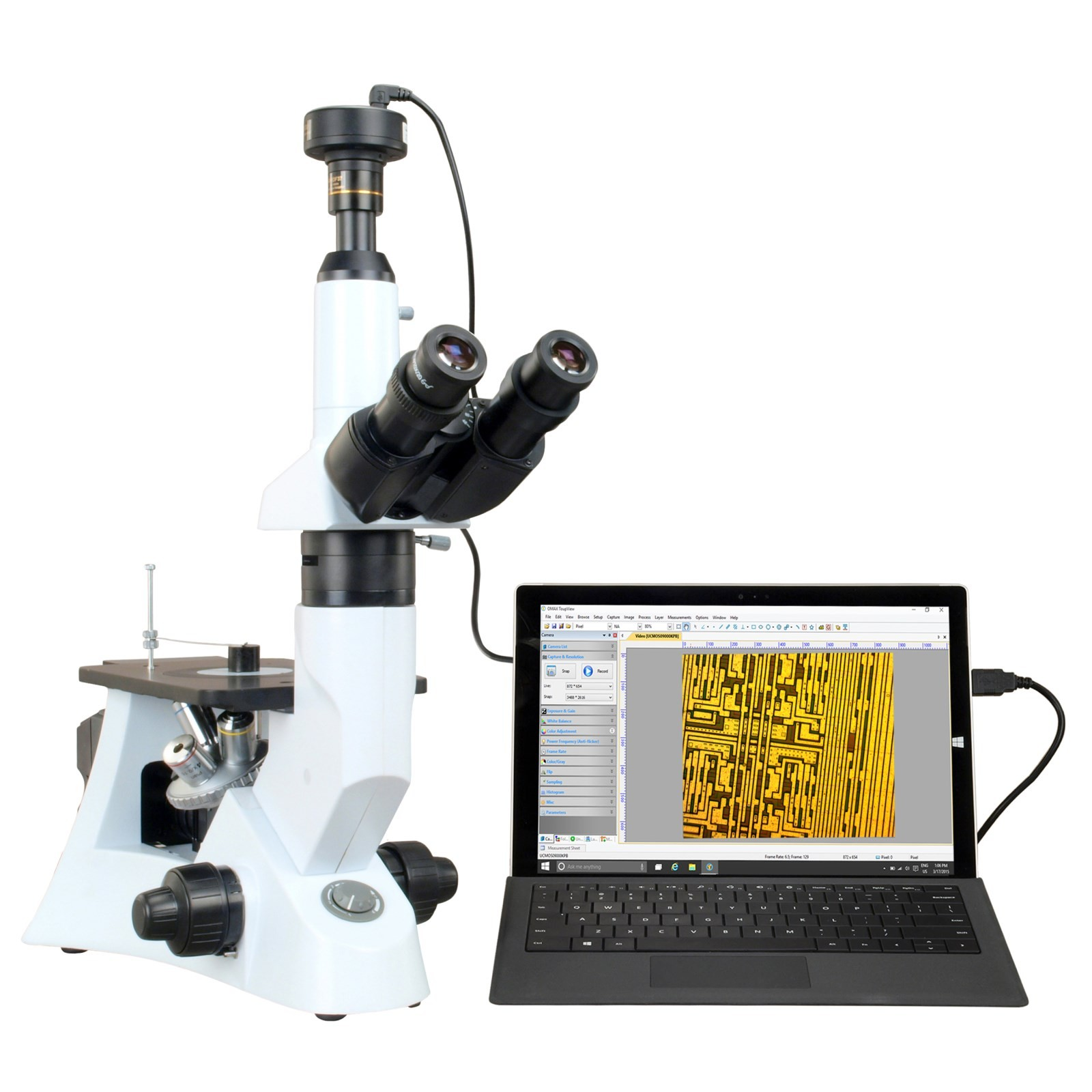 OMAX 40X-400X Digital 10.0MP PLAN Trinocular Inverted Infinity Metallurgical Polarizing Microscope