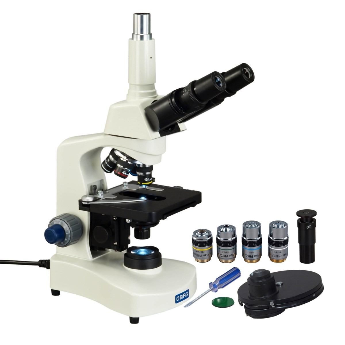 40X-2000X Phase Contrast Trinocular Compoud LED Siedentopf Microscope+PLAN Objectives