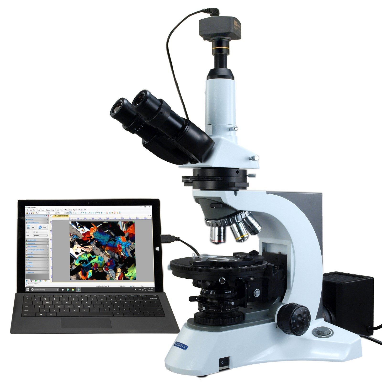OMAX 40X-1000X PLAN Trinocular Infinity Polarizing Microscope with 14MP Digital Camera