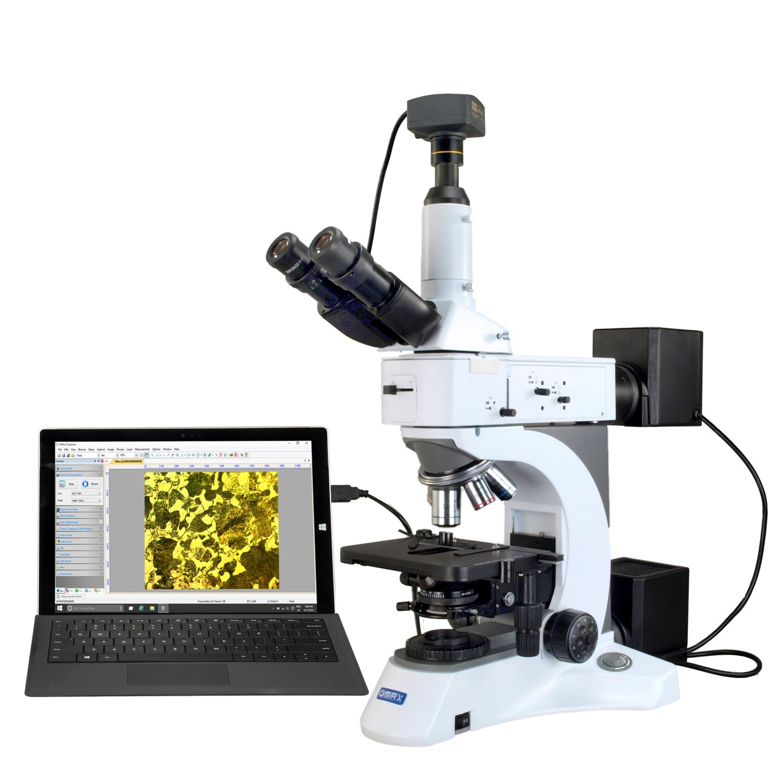 OMAX 40X-1500X USB3 10MP Digital Trinocular Metallurgical Infinity Polarizing Darkfield Microscope