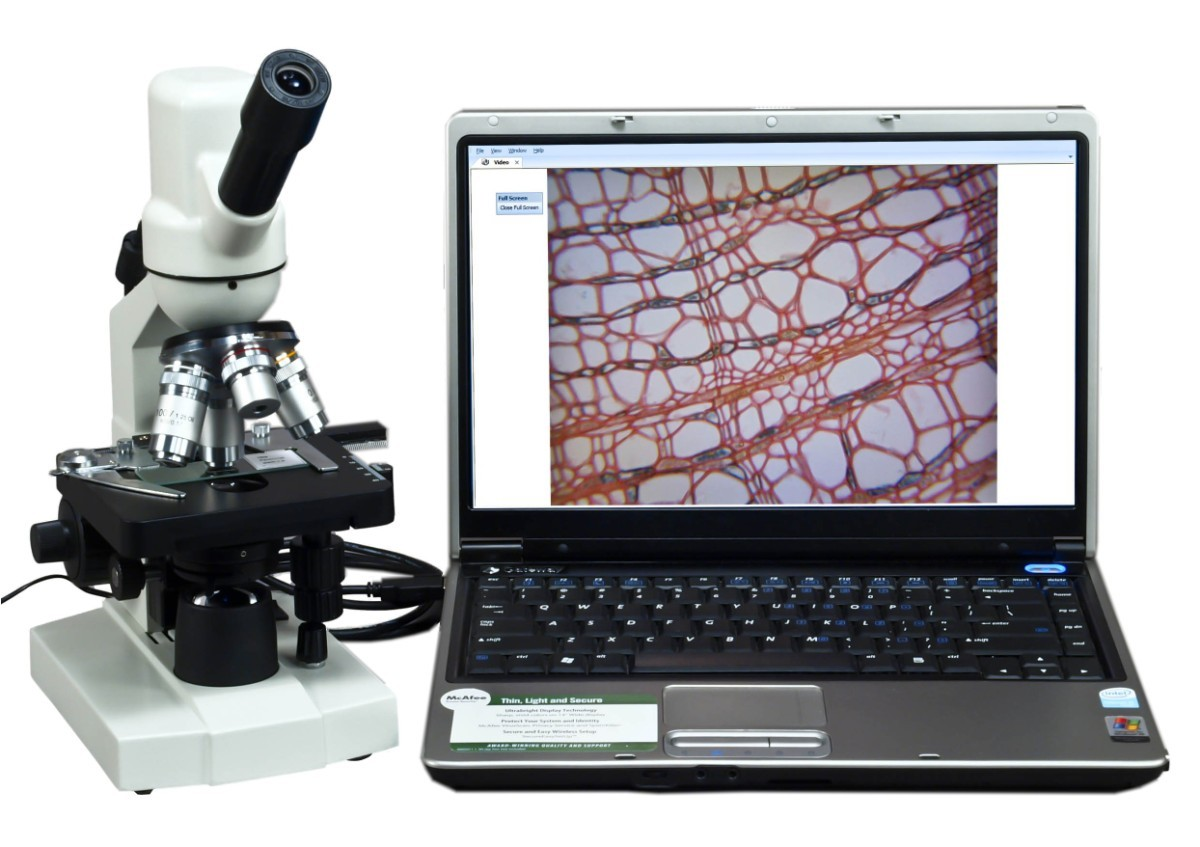 40X-1000X Digital Monocular Compound LED Microscope with Built-in 1.3MP Camera