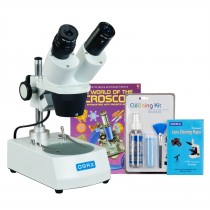 OMAX 10X-30X Binocular Stereo Microscope with Dual Lights, Cleaning Pack and Microscope Book