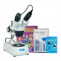 OMAX 10X-20X-30X-60X Binocular Stereo Microscope with Dual Lights, 1.3MP Camera, Cleaning Pack, Book