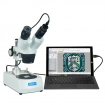 OMAX 10X-20X-30X-60X Student Binocular Stereo Microscope with Dual Lights and 1.3MP Camera