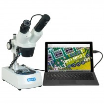 OMAX 10X-30X Cordless Stereo Binocular Microscope with Dual LED Lights and USB Digital Camera