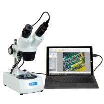 OMAX 10X-30X Cordless Stereo Binocular Microscope with Dual LED Lights and 1.3MP USB Camera