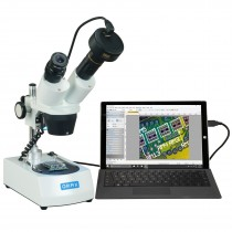 OMAX 10X-30X Cordless Stereo Binocular Microscope with Dual LED Lights and 3MP Digital Camera
