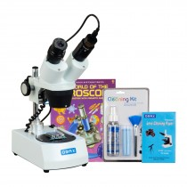 OMAX 10X-20X-30X-60X Cordless Stereo Binocular Microscope with USB Camera, Cleaning Pack, BooK