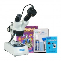 OMAX 10X-20X-30X-60X 1.3MP Camera Cordless Stereo Binocular Microscope with Cleaning Pack and Book