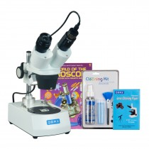 OMAX 20X-60X Student Binocular Stereo Microscope with Dual Lights, 1.3MP Camera, Cleaning Pack, Book