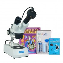 OMAX 20X-60X 5MP Digital Camera Binocular Stereo Student Microscope with Dual Lights, Cleaning Pack