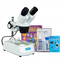 OMAX 20X-60X Student Binocular Stereo Microscope with Dual Lights, Cleaning Pack and Book