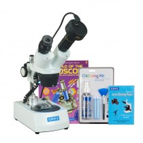 OMAX 20X-40X Cordless Stereo Binocular Microscope w  Dual LED Lights+3MP Camera+Cleaning Pack+Book