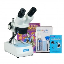 OMAX 20X-40X Cordless Stereo Binocular Student Microscope with Dual LED Lights, Cleaning Pack, Book