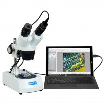 OMAX 20X-40X-80X Cordless Dual LED Lights Binocular Stereo Microscope with 1.3MP USB Camera