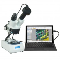 OMAX 20X-40X-80X Cordless Stereo Binocular Microscope with Dual LED Lights and 1.3MP Camera