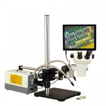 OMAX 3X-300X 5MP Touchpad Screen Zoom Stereo Microscope on Ball-Bearing Boom + 150W Dual Fiber Light