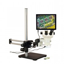 OMAX 6X-50X 5MP Touchpad Screen Binocular Stereo Microscope on Ball-Bearing Boom with 144-LED Light