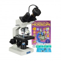 OMAX 40X-2500X 3MP Digital Camera LED Binocular Lab Microscope+Blank Slides+Covers+Lens Paper+Book