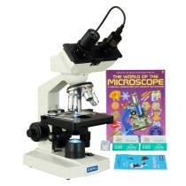 OMAX 40-2500X LED Digital Binocular Lab Microscope+5MP Camera+Blank Slides+Covers+Lens Paper+Book
