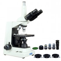 OMAX 40X-2000X Advanced Super Bright LED Plan Trinocular Compound Microscope with Phase Contrast Kit