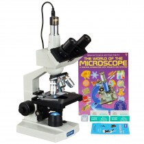 OMAX 40-2500X LED Digital Trinocular Lab Microscope+1.3MP Camera+Blank Slides+Covers+Lens Paper+Book