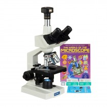 OMAX 40-2500X 3MP Digital Camera LED Trinocular Lab Microscope+Blank Slides+Covers+Lens Paper+Book