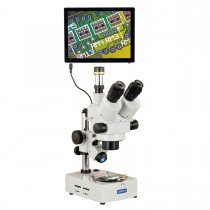 OMAX 7X-45X 5MP Touchpad Screen Trinocular Zoom Stereo Microscope on Dual Halogen Light Desk Stand