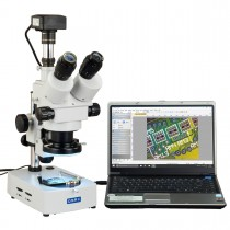 OMAX 3.5X-90X USB3 10MP Digital Trinocular Zoom Stereo Microscope on Desk Stand with 144-LED Light