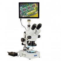 OMAX 3.5X-90X 5MP Touchpad Screen Trinocular Zoom Stereo Microscope on Desk Stand with 144-LED Light