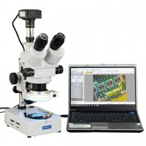 OMAX 3.5X-90X USB3 10MP Digital Trinocular Zoom Stereo Microscope on Desk Stand with 56-LED Light