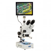 OMAX 3.5X-90X 5MP Touchpad Screen Trinocular Zoom Stereo Microscope on Desk Stand with 56-LED Light