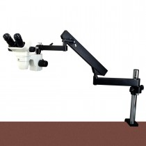 OMAX 6.7X-45X Zoom Binocular Stereo Microscope on Articulating Arm Stand with 8W Flourescent Light