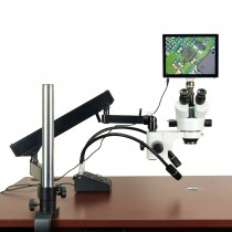OMAX 2.1X-180X 5MP Touchscreen Trinocular Stereo Microscope on Articulating Arm with 6W LED Light