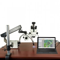 OMAX 2.1X-225X 18MP USB3.0 Digital Stereo Microscope on Articulating Arm+30W LED Ring & Dual Lights