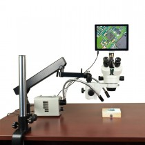 OMAX 2.1X-225X 5MP Touchpad Screen Stereo Microscope on Articulating Arm+30W LED Ring & Dual Lights