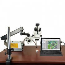 OMAX 2.1X-270X USB3 5MP Trinocular Zoom Stereo Microscope on Articulating Arm+150W Dual Fiber Light