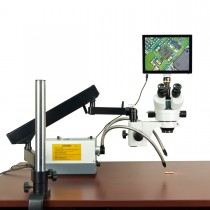 OMAX 2.1X-270X 5MP Touchpad Screen Zoom Stereo Microscope on Articulating Arm+150W Dual Fiber Light
