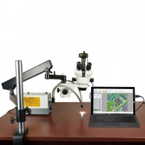 2.1X-270X 14MP Digital Zoom Stereo Microscope on Articulating Arm with 150W Ring and Dual Lights