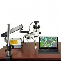 2.1X-270X 720p WiFi Digital Zoom Stereo Articulating Microscope with 150W Ring & Dual Fiber Lights