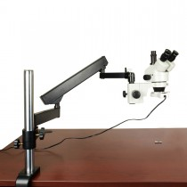 7X-45X Zoom Trinocular Microscope on Articulating Arm Stand with Flourescent Light