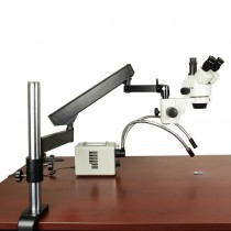 7X-45X Zoom Stereo Microscope on Articulating Arm with Bright 30W LED Fiber Dual Gooseneck Light