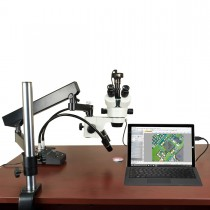 OMAX 7X-45X Zoom Trinocular Stereo Microscope on Articulate Arm Stand with 6W LED Light & 2MP Camera