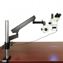 7X-45X Zoom Trinocular Microscope on Articulating Arm Stand with 54 LED Ring Light