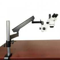 7X-45X Zoom Trinocular Stereo Microscope on Articulating Arm Post Stand
