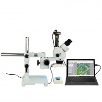 OMAX 3.5X-90X 10MP Zoom Trinocular Stereo Microscope on Boom Stand with 8W Fluorescent Ring Light