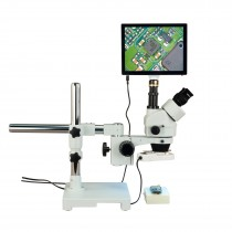 OMAX 3.5X-90X 5MP Touchscreen Trinocular Boom Stand Stereo Microscope with 8W Fluorescent Ring Light