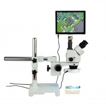 OMAX 3.5X-90X 5MP Touchscreen Zoom Trinocular Boom Stand Stereo Microscope with 144 LED Ring Light