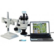 2X-90X 2.0MP Digital Trinocular Zoom Stereo Microscope on Dual Bar Boom Stand with 144 LED Ring Ligh