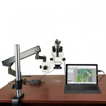 3.5X-90X 2MP Digital Zoom Stereo Microscope on Articulating Arm Boom Stand with 144 LED Ring Light